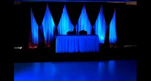 White Dance Floor w/ Black Swagged Curtains 3